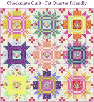 PRE-ORDER Tula Pink Curiouser and Curiouser Checkmate Quilt Fabric Kit - Pattern Available online from FreeSpirit Fabrics