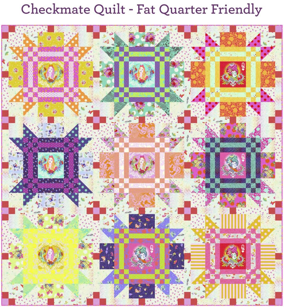 PRE-ORDER Tula Pink Curiouser and Curiouser Checkmate Quilt Fabric Kit - Pa