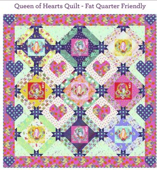 PRE-ORDER Tula Pink Curiouser and Curiouser Queen of Hearts Quilt Fabric Kit - Pattern Available online from FreeSpirit Fabrics