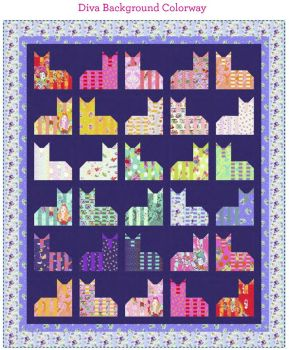 PRE-ORDER Tula Pink Curiouser and Curiouser The Cheshire Cat Diva Background Quilt Fabric Kit - Pattern Available online from FreeSpirit Fabrics