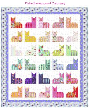 PRE-ORDER Tula Pink Curiouser and Curiouser The Cheshire Cat Fairy Flakes Background Quilt Fabric Kit - Pattern Available online from FreeSpirit Fabri
