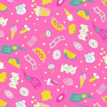 Figo American Road Trip Snacks Pink Taco Hotdog Icecream Donut Coffee Cotton Fabric