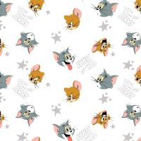 Tom and Jerry Heads and Stars White Cat Mouse Hannah-Barbera Classic Cartoon Cotton Fabric