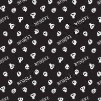 Beetlejuice Tossed Skulls Black Logo Tim Burton Movie Skull Michael Keaton Halloween Cotton Fabric
