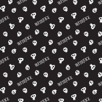 Beetlejuice Tossed Skulls Black Logo Tim Burton Movie Skull Michael Keaton Halloween Cotton Fabric