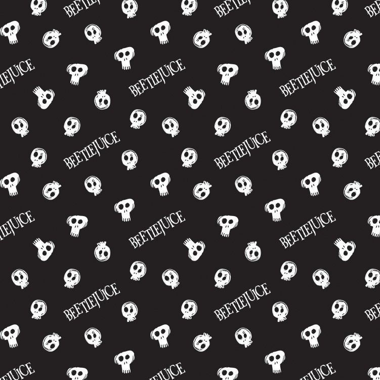 Beetlejuice Tossed Skulls Black Logo Tim Burton Movie Skull Michael Keaton