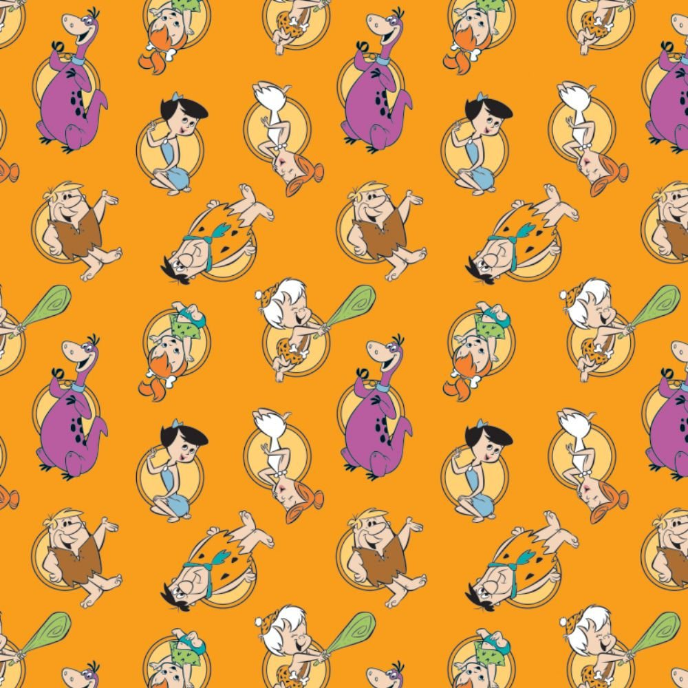 The Flintstones Stone Age Family Tossed Orange Hannah-Barbera Classic Carto