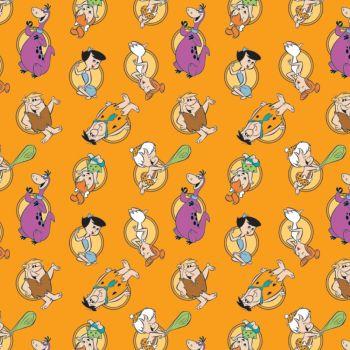 The Flintstones Stone Age Family Tossed Orange Hannah-Barbera Classic Cartoon Cotton Fabric
