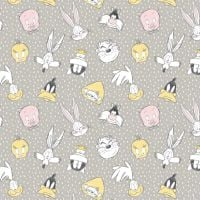 Looney Tunes Little Dreamer Characters Light Grey Sketch Warner Bros Classic Cartoon Cotton Fabric