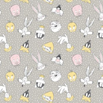 Looney Tunes Little Dreamer Characters Light Grey Sketch Warner Bros Classic Cartoon Cotton Fabric