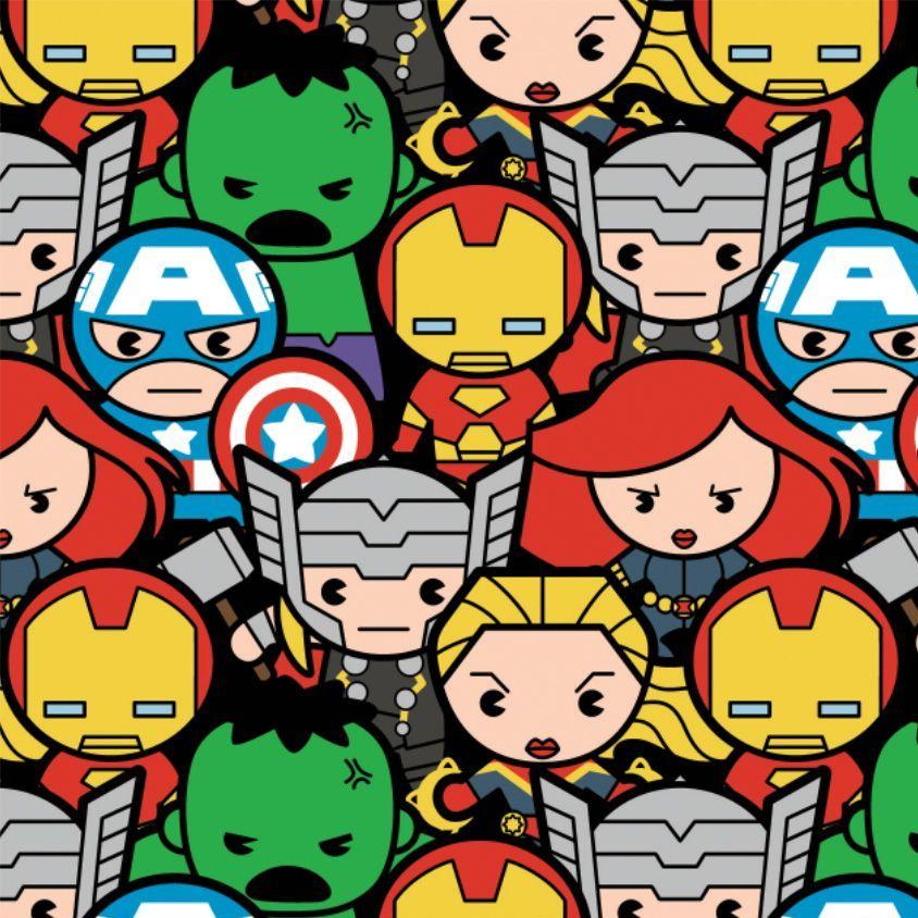 Marvel Avengers Superhero Kawaii Superheroes Packed Character Cotton Fabric