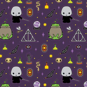 Harry Potter Kawaii Voldemort Deathly Hallows Dark Magic Icons Purple Hogwarts Magical Wizard Cotton Fabric