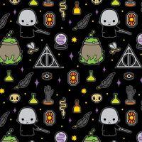 Harry Potter Kawaii Voldemort Deathly Hallows Dark Magic Icons Black Hogwarts Magical Wizard Cotton Fabric