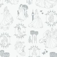 Disney Princess Toile Frames Belle Snow White Cinderella Tiana Rapunzel Ariel Sleeping Beauty Sketch Character Film Cotton Fabric