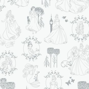 Disney Princess Toile Frames Belle Snow White Cinderella Tiana Rapunzel Ariel Sleeping Beauty Sketch Character Film Cotton Fabric