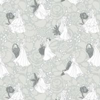 Disney Princess Floral Belle Snow White Cinderella Rapunzel Ariel Sleeping Beauty Sketch Character Film Cotton Fabric