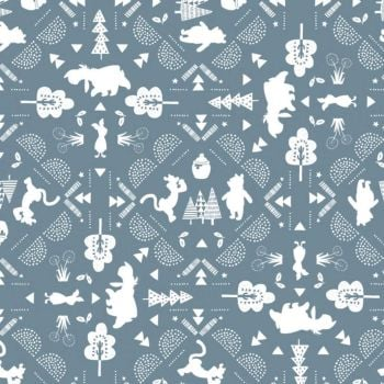 Disney Winnie the Pooh Friends Wonder & Whimsy Nursery Character Silhouette Lace Blue Cotton Fabric