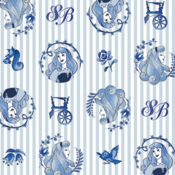 Disney Princess Sleeping Beauty Aurora Blue Badges Stripes Sketch Character Film Cotton Fabric