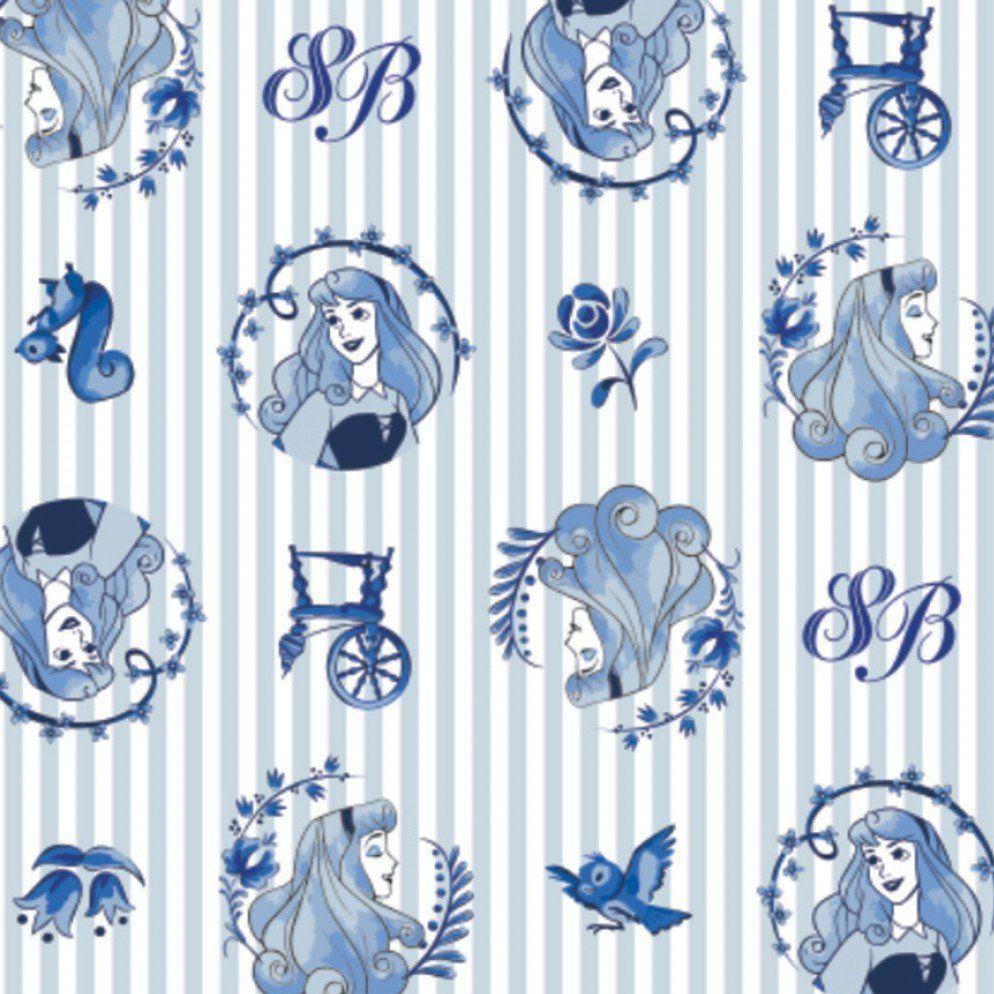 Disney Princess Sleeping Beauty Aurora Blue Badges Stripes Sketch Character