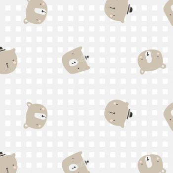 Big Bear Cuddles Floating Bears Check Teddy Bears Nursery Cotton Fabric