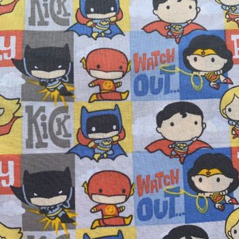 DC Superheroes In Action Comic Blocks Kawaii Justice League Batman Superman The Flash Wonder Woman Superhero Cotton Fabric