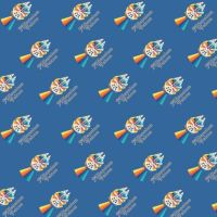 Star Wars Retro Mini Millienium Falcon Rainbow Metallic Text Cotton Fabric