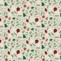 Christmas Traditions Ornaments Mint Holiday Winter Cotton Fabric