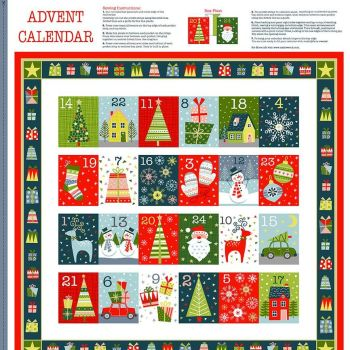 Joy Advent Calendar Christmas DIY Panel Merry Christmas Festive Project Cotton Fabric by Makower per panel