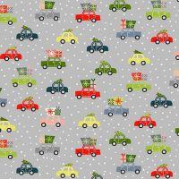 Joy 2020 Cars Grey Christmas Trees Festive Winter Holiday Cotton Fabric by Makower