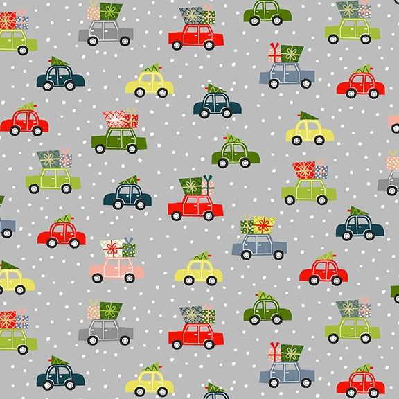 Joy 2020 Cars Grey Christmas Trees Festive Winter Holiday Cotton Fabric by