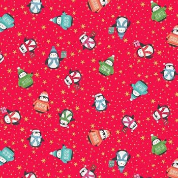Let It Snow 2020 Penguins Red Metallic Penguin Christmas Jumpers Festive Winter Holiday Cotton Fabric by Makower