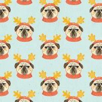 Bah Hum-Pug Pug Life in Multi Reindeer Antler Pugs Dog Christmas Festive Holiday Furry Christmas Dear Stella Cotton Fabric