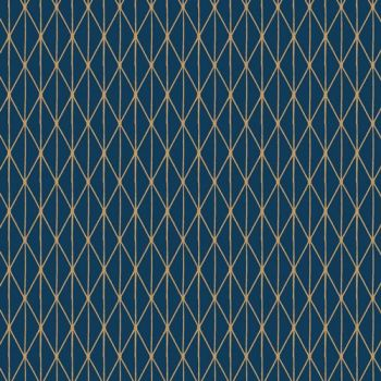 Cozy and Joyful Midwinter Dusk Metallic Gold Navy Geometric Cotton Fabric