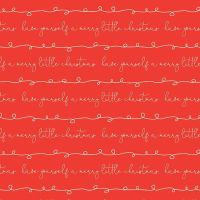 Merry Little Christmas Writing Red Cursive Text Festive Holiday Winter Cotton Fabric