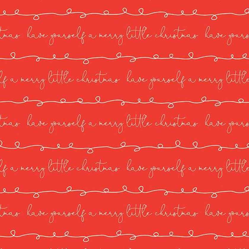 Merry Little Christmas Writing Red Cursive Text Festive Holiday Winter Cott