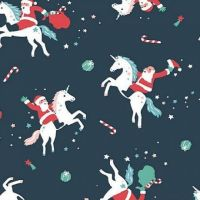 Sparkle All The Way Orion Unicorn Father Christmas Santa Claus Rodeo Festive Holiday Dear Stella Cotton Fabric