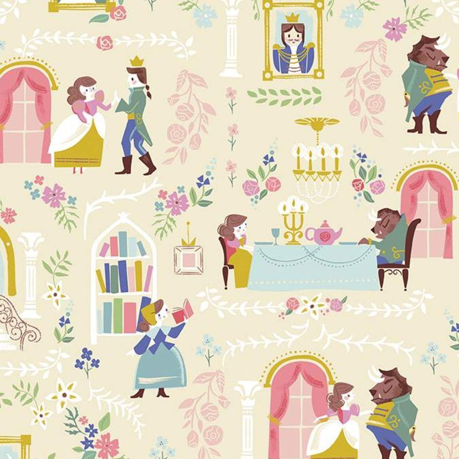 Beauty and the Beast Main Cream Characters Belle Scenic Jill Howarth Cotton