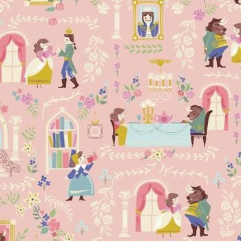 Beauty and the Beast Main Pink Characters Belle Scenic Jill Howarth Cotton Fabric