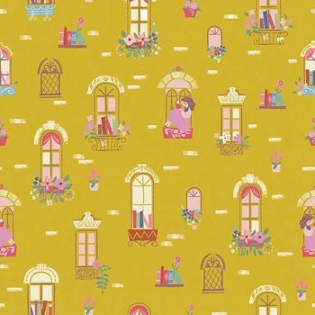 Beauty and the Beast Windows Gold Characters Belle Scenic Jill Howarth Cotton Fabric