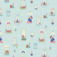Beauty and the Beast Windows Light Blue Characters Belle Scenic Jill Howarth Cotton Fabric