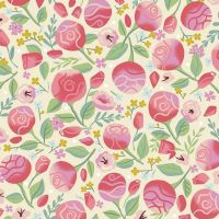 Beauty and the Beast Floral Cream Flowers Roses Rose Jill Howarth Cotton Fabric