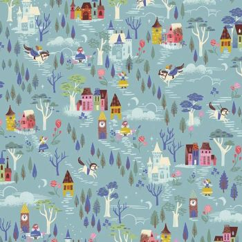 Beauty and the Beast French Countryside Blue Characters Belle Scenic Jill Howarth Cotton Fabric