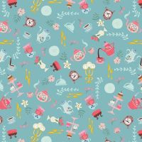 Beauty and the Beast Objects Blue Characters Belle Scenic Jill Howarth Cotton Fabric