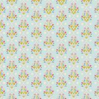 Beauty and the Beast Fleur-de-Lis Light Blue Floral Jill Howarth Cotton Fabric