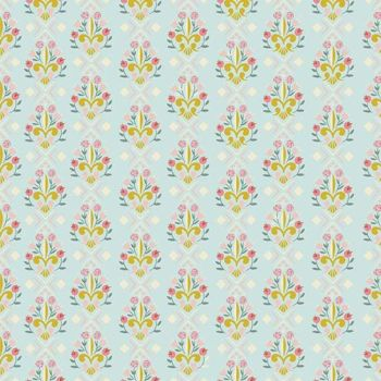 Beauty and the Beast Fleur-de-Lis Light Blue Floral Jill Howarth Cotton Fabric