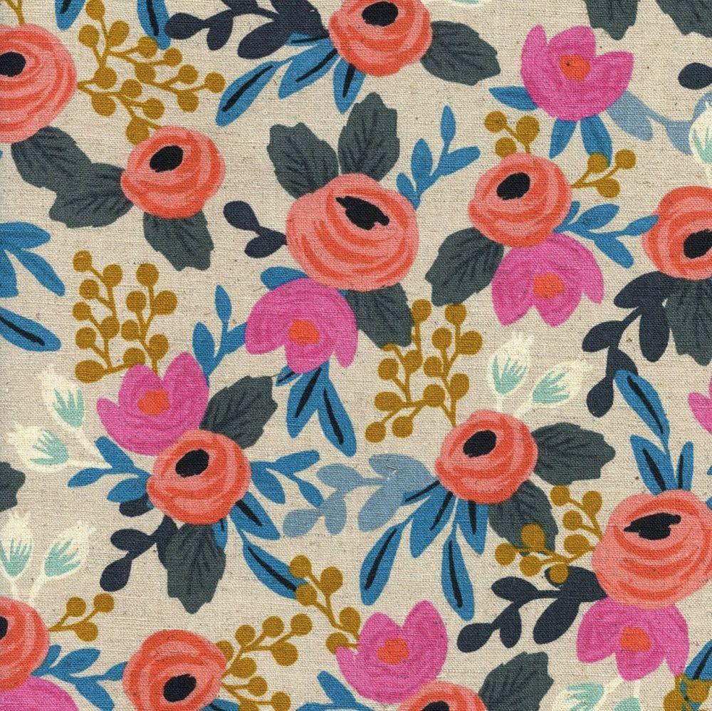 Rifle Paper Co Les Fleurs Rosa Natural Floral Botanical Cotton Linen Canvas