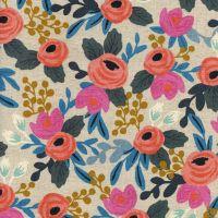 Rifle Paper Co Les Fleurs Rosa Natural Floral Botanical Cotton Linen Canvas Fabric