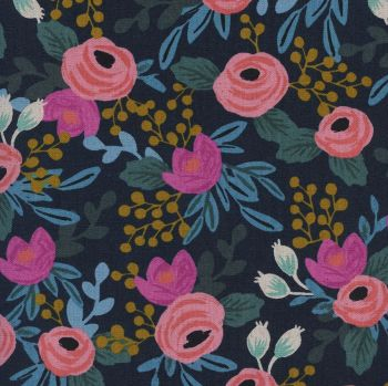 Rifle Paper Co Menagerie Rosa Navy Floral Botanical Cotton Linen Canvas Fabric