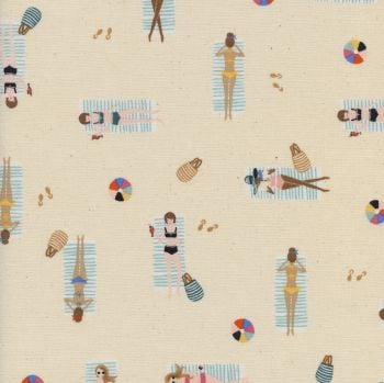 Rifle Paper Co. Amalfi Sun Girls Natural Sunbathing Ladies Sunbathers Beach Travel Vacation Holiday Cotton Fabric