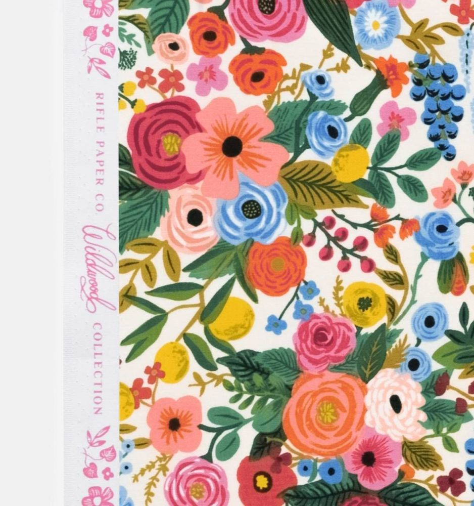 Rifle Paper Co. Wildwood Garden Party Cream Rose Floral Botanical Cotton Fa